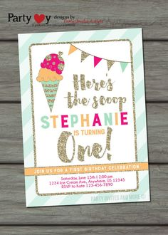 Ice Cream Birthday Invitation Ice Cream by PartyInvitesAndMore