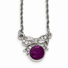 Silver-tone Downton Abbey Purple & Clear Crystal 3in ext. Necklace