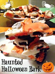 Haunted Halloween Bark - so easy and a great fun festive treat! Use your favorite candy/cookies and the kids can help out too!
