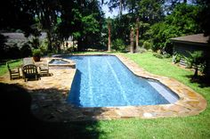 Natural looking swimming pool located in Summerville, SC