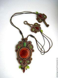 кулон Sherwood - рыжий,сутажный кулон,сутажная вышивка,огненный агат,агат вены дракона