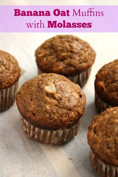 Banana oat muffins with molasses are a nutritious, wholesome snack. Made with whole grain flour, rolled oats and yogurt. Low in refined sugar. Banana Bran Muffins, Healthy Banana Muffins, Yogurt Muffins, Gluten Free Banana, Baking Muffins, Banana Oats, Rhubarb Muffins, Cornbread Muffins, Banana Bread