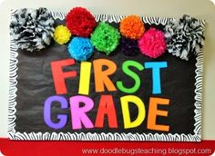 First Grade Back to School Door Decoration - Bullletin Board - Rainbow Colors, Pom Poms and zebra