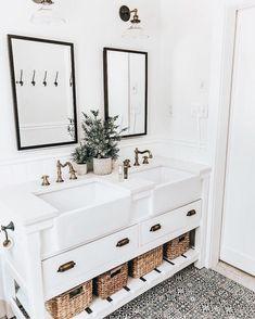 Bathroom goals with deep farmhouse sinks. black mirrors, black & white tile, and white walls Boho Bathroom, Bathroom Interior, Master Bathroom, Bathroom Goals, Funny Bathroom, Bathroom Inspo, Small Bathroom, Bathroom Ideas, Bathroom Inspiration