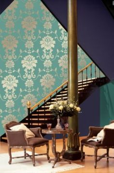 Classical Turquoise And Gold Effect Wallpaper, 4000776764362