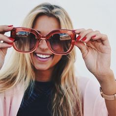 @andreabelverf playing around with our lovely Peach Ingrid shades. Head over to our website www.triwa.com and get yourself a pair!