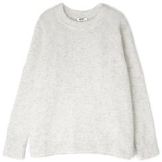 Acne Dove Grey Rue Mohair Jumper (2,455 GTQ) ❤ liked on Polyvore featuring tops, sweaters, jumpers, knits, grey sweater, crewneck sweater, mohair sweater, marled sweater and grey crew neck sweater