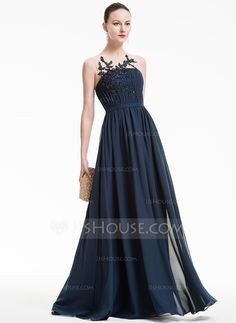 A-Line/Princess Scoop Neck Floor-Length Ruffle Beading Appliques Lace Sequins Zipper Up Covered Button Regular Straps Sleeveless No 2016 Dark Navy Spring Summer Fall General Plus Chiffon Evening Dress