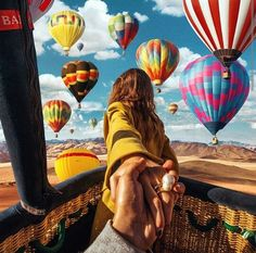 Another photo by Murad Osmann in a hot air balloon in with his beautiful muse. Air Balloon Rides, Hot Air Balloon, Air Ballon, Murad Osmann, Adventure Is Out There, Belle Photo, Adventure Travel, Travel Inspiration, Travel Photography