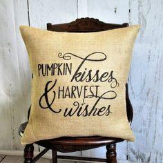 Pumpkin Kisses Harvest Wishes Burlap Pillow Pumpkin Pillows, Fall Pillows, Throw Pillows, Stenciled Pillows, Burlap Pillows, Thanksgiving Decorations, Halloween Decorations, Fall Decorations, Halloween Pillows