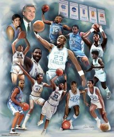 """""""Dean's Dream Team"""" by Wishum Gregory. Wow...Dean Smith coached so many great athletes and future hall of famers while he was the head coach of UNC Tarheel Basketball. Let's go Tarheels!!!"""