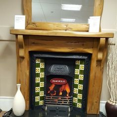 EX DISLAY Complete Fireplace Suite TIMBER FIRE SURROUND AND MIRRORc/w Cast Iron Insert