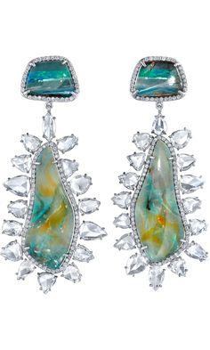 Boulder Opal & Diamond Earrings