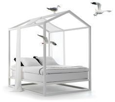 There is something primal about our reaction to a house-shaped structure - that outline we are familiar with from the day we start drawing our homes in Crayon as children. This minimalist bed canopy takes this distilled typology and applies it to the place we desire to feel most at peace and at  ...