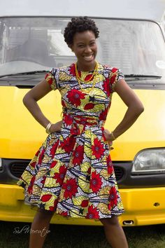 ankara stil African red and yellow print Alice-in-wonderland dress - African Inspired Fashion, African Print Fashion, Africa Fashion, Fashion Prints, African Print Dresses, African Fashion Dresses, African Dress, African Prints, African Fabric