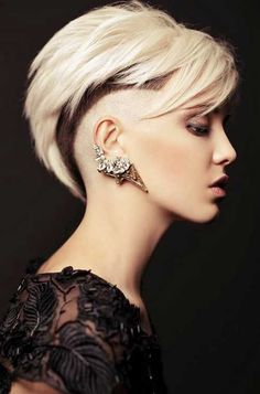 stylish Undercut with gray hair color and ear cuff