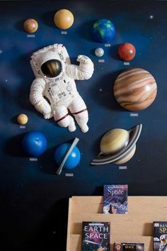 Fun Kid's Space Themed Bedroom Design Ideas. Find and save ideas about Space theme bedroom in this article. Boys Space Bedroom, Outer Space Bedroom, Outer Space Theme, Boy Room, Art Wall Kids, Wall Art, Wall Mural, Bedroom Themes, Bedroom Ideas