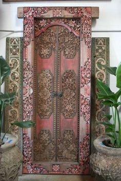pink ornate door