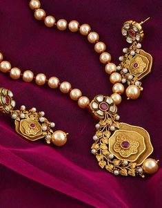 Jewelry OFF! This festive season Anuradha Art Jewellery offers wonderful collection of designer traditional necklace. To view more designs visit our website: anuradhaartjewell. Bridal Jewelry Vintage, Indian Wedding Jewelry, Indian Jewelry, Bridal Jewellery Inspiration, Gold Jewellery Design, Pendant Jewelry, Jewelry Art, Gold Jewelry, Pearl Pendant