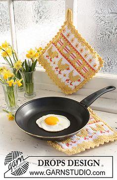 Easter Brunch pattern by DROPS design Potholder Patterns, Knitting Patterns Free, Free Knitting, Free Pattern, Crochet Patterns, Drops Design, Knitted Washcloths, Knit Dishcloth, Crochet Doily Rug