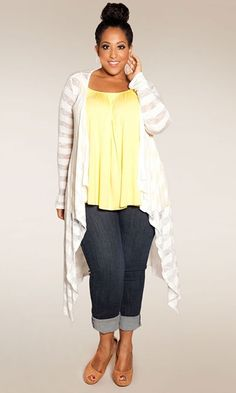 Jamie Knit Cardigan (white, coral) $49.90 | The ultimate in layering versatility, pair with a plus size long sleeve tee or our Pretty Cami. An essential long, light-weight knit sweater cardigan that's virtually season less in possibility!