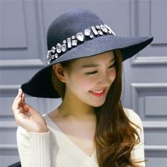 Rhinestone felt floppy hat for women fashion winter dome wide brim hats   HatsForWomenFloppy Hat Stores fb10695dd08f