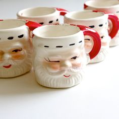 Santa Claus Shot Glass Mugs - Set of Six Vintage Cups - Hand Painted - Made in Japan - Christmas in July