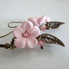 Cherry Blossom Earrings  Polymer Clay by beadscraftz on Etsy, $20.00