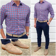 This feels like a great outfit for the first day of Spring here in the Northern Hemisphere❗️👌🏼🔥🔵🔴 Do you like this outfit❓ Belt: Khaki Canvas Strap Pants: Athletic Fit Rapid Movement Chino in Navy Blue Shirt and shoes: Mode Masculine, Chinos Men Outfit, Stylish Men, Men Casual, Formal Men Outfit, Mein Style, Mens Fashion, Fashion Outfits, Men's Outfits