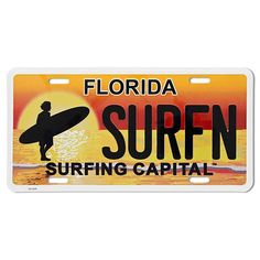 Surfing Capital License Plate