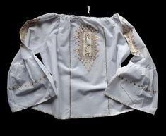 Vintage white embroidery folk shirt blouse size M/L