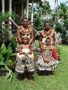 Traditional Fijian wedding tapa cloth(masi) attire