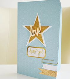 @teresacollins Gold Star Card | Find the full Thank You Card Tutorial at @joannstores