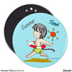 Summer Time Pinback Button