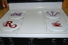 Set of 4 Burner Covers with Custom Decals for the by DecalsEnFolie, $14.99