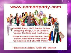 I would like to invite you to SMART Party!!! We provide a platform for direct sales companies. We have our own website with a Shopping Mall, an active Blog, a directory of current Stores and our page of LIVE events. Please feel free to check us out at www.asmartparty.com. If you have any questions or comments, please feel free to use the Contact form on the website.