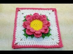 "Learn How To #Crochet Perfectly Pink Flower 6"" Granny Square TUTORIAL #377 supersaver - YouTube"