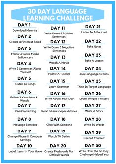 Check out this awesome 30 Day Language Learning Challenge! Each day learn new language learning tips. This is one of the most effective ways to learn a foreign language. Best Language Learning Apps, Learning Languages Tips, English Language Learning, German Language, Languages To Learn, Korean Learning Apps, Portuguese Language, Kids Learning, Learning German