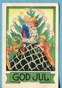 Vintage Swedish Christmas Postcard ~ A bit of Orange Merry Christmas, Swedish Christmas, Christmas Mood, Scandinavian Christmas, Vintage Christmas Cards, Christmas Images, Little Christmas, Christmas And New Year, Xmas
