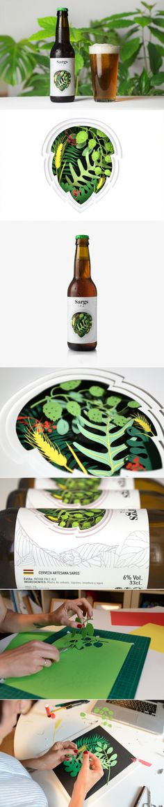Hula Estudio designed the packaging for Sargs IPA, a fruity craft beer. The design of the label is the result of a beautifully handcrafted botanical illustration created by incorporating paper cutouts. Jar Packaging, Beverage Packaging, Corporate Design, Branding Design, Packaging Design Inspiration, Graphic Design Inspiration, Beer Label Design, Food Design, News Design