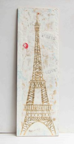 Paris LOVE - encaustic mixed media painting with vintage papers