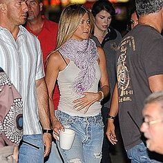 Jennifer Aniston - my style icon - I love the soft shade/fabric of this scarf - so beautiful and so classy - then the laid back sexiness of the heathered tank and distressed jeans - effortlessly HOT - LOVE LOVE LOVE!