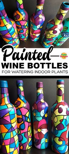 These painted wine bottles are so fun to make. They're great for watering potted plants. The long neck reaches deep into the plant, so no drips or spills! Makes a great homemade gift, and a super way to re-use empty wine bottles! Empty Wine Bottles, Green Glass Bottles, Wine Bottle Art, Glass Bottle Crafts, Painted Wine Bottles, Decorated Bottles, Wine Glass, Crafts For Teens To Make, Diy And Crafts