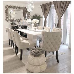 outstanding dining room table decor ideas 7 < Home Design Ideas Decor Home Living Room, Dining Room Table Decor, Elegant Dining Room, Luxury Dining Room, Dining Room Design, Home Decor, Purple Dining Chairs, Dining Room Furniture, Dining Area