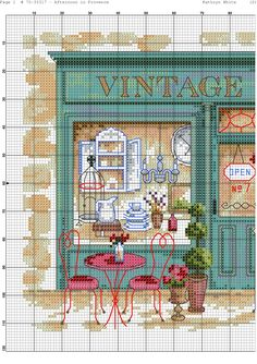 Afternoon in Provence 4 Tiny Cross Stitch, Cross Stitch House, Cross Stitch Kitchen, Cross Stitch Alphabet, Modern Cross Stitch, Cross Stitch Flowers, Cross Stitch Kits, Cross Stitch Charts, Cross Stitch Designs