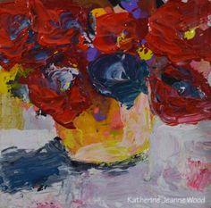 Katherine Jeanne Wood - 4x4 chipboard Flower Series No 62 01