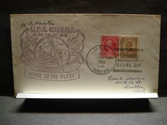 USS GREBE AM-43 Naval Cover 1935 Signed Cachet THANKSGIVING