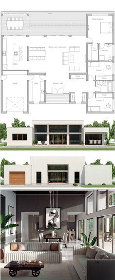 Floor Plans, New Homes, Floor Plan Grundriss Modern Floor Plans, Modern House Plans, Modern House Design, Home Design Floor Plans, New House Plans, Dream House Plans, Small House Plans, Mini House Plans, House Blueprints