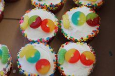 100th day snacks - gummy worm and gummy lifesavers. These are cupcakes but I am going to do it on a sugar cookie