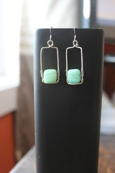 Sterling Silver Square with Green Chalcedony Earrings, by Cindy Larson Accessories